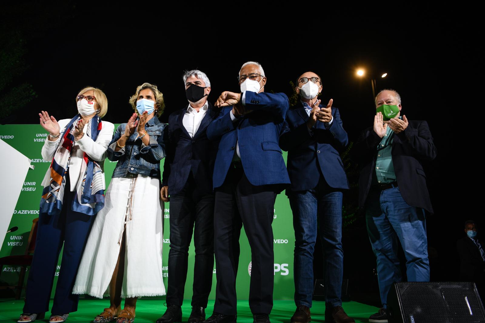 Lucia Silva, Ana abrunhosa, João Azevedo, António Costa, Rui Cruz e Simões Torres na campanha autárquica pela PS em Viseu